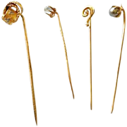 Antique Stickpins, Group of 4, CA.1900