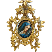 """Madonna at Prayer"" Porcelain Plaque Hand Painted,Florentine Frame, CA.1880"