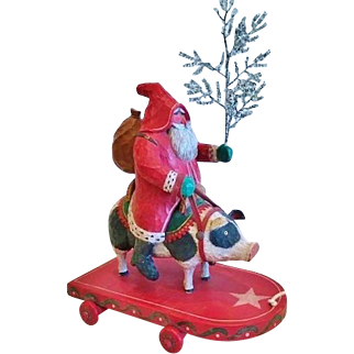 Santa Claus Riding a Pig, Hand Carved, Signed B.Schifferl, Dated1990