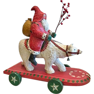 Santa Claus Riding a Polar Bear, Hand Carved, Signed B.Schifferl, Dated 1990