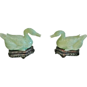 "Pair of Chinese Pale Green Jade ""Mandarin Ducks"", Carved, with Stands"