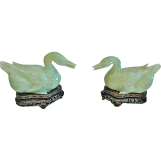"""Pair of Chinese Pale Green Jade """"Peking Ducks"""", Carved, with Stands"""