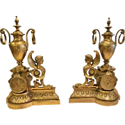 Pair of Antique Bronze Figural Andirons or Chenets, CA.1870
