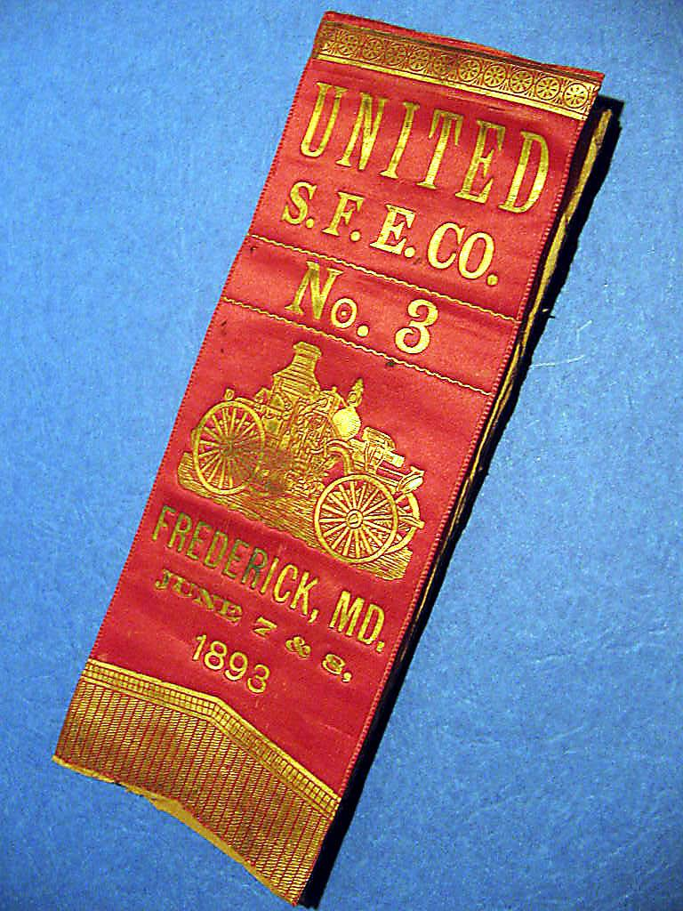 Antique Fire Department Ribbon, Frederick, Maryland - 1896