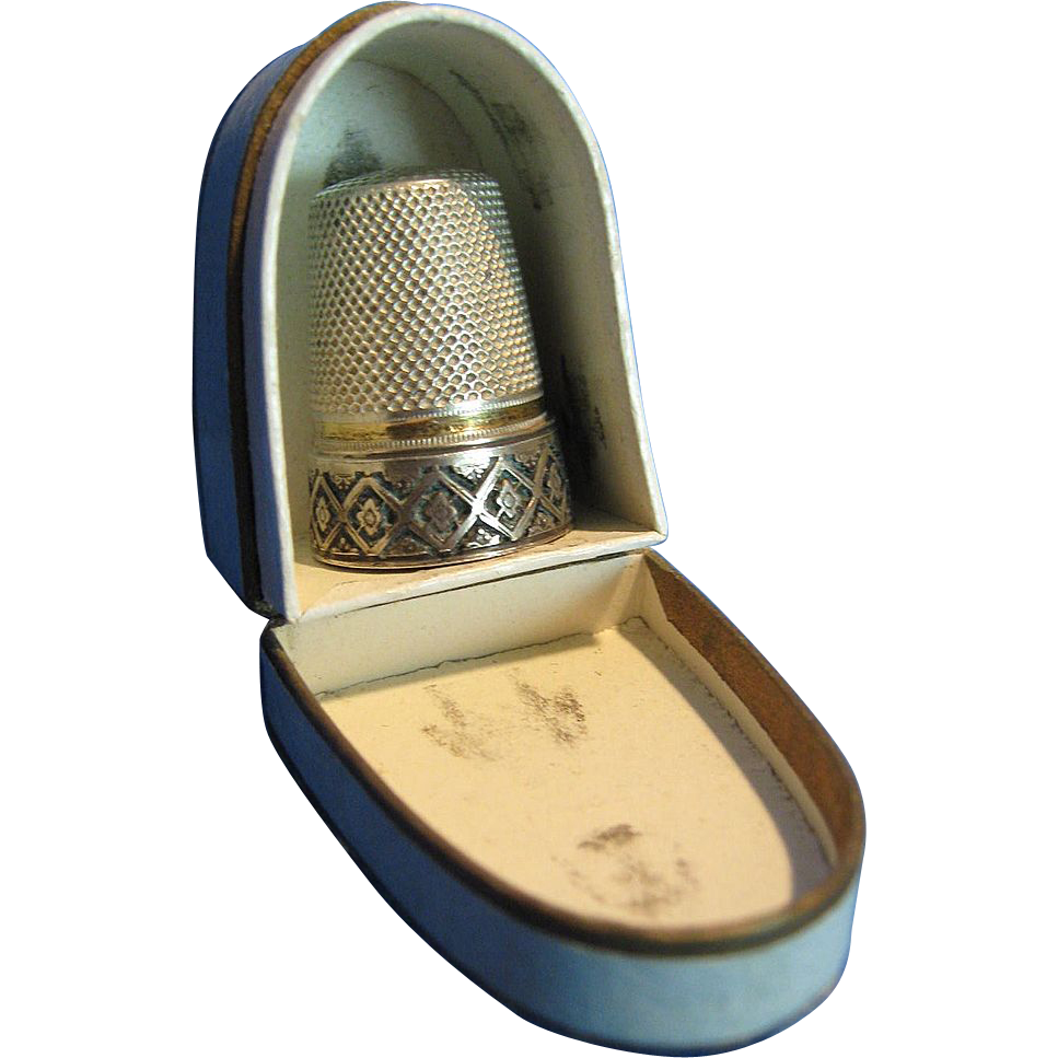 Antique French Sterling Thimble & Box, CA.1880