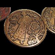 Set of 4 Antique Buttons, Oriental Design, CA.1890