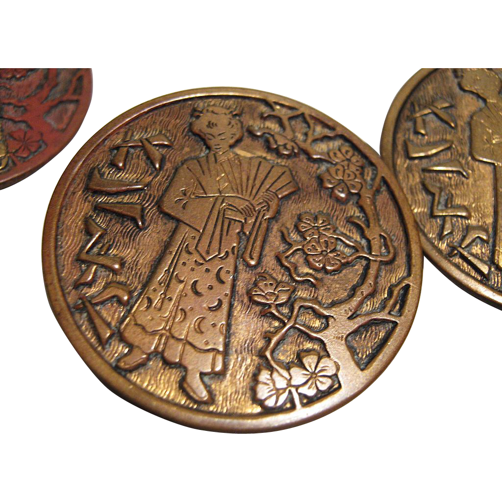 Set of 4 Antique Buttons, Oriental Design, CA.1890