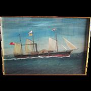 Antique Gouache Painting of a Sidewheel Schooner, Dated 1860