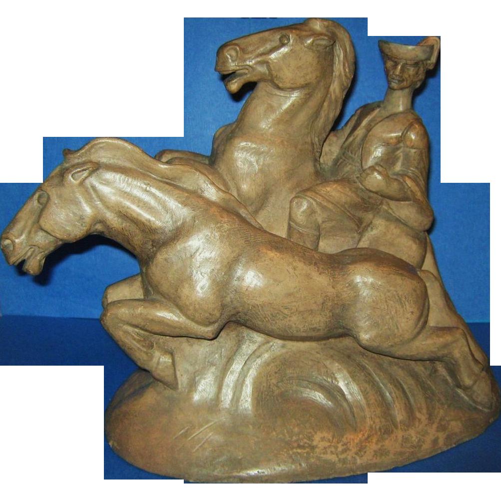 Mid Century ModerneTerracotta Sculpture, Renaissance Man & Horses, 1943