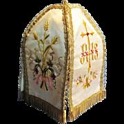 "Antique French Catholic ""Pavillion de Ciboire"", Gold Bullion Detail, Hand Embroidered on silk, CA.1880"