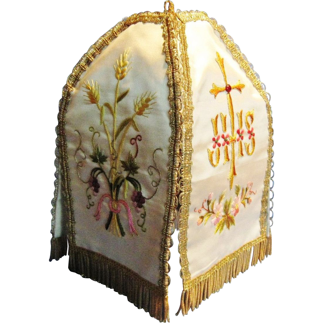 "Antique French Catholic ""Pavillion de Ciboire"", Gold Bullion Detail, Hand Embroidered on silk, CA.1880"