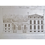 Original Antique Architectural Steel Engravings,by  M.Cesar Daly, Paris 1862-1864