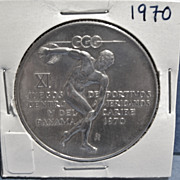 Vintage Large Silver Panama Coin, 5 Balboas, Pan Am Games