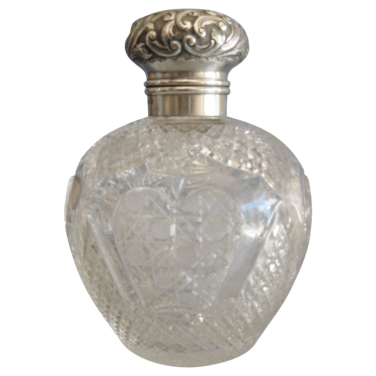 Large English Cut Glass & Sterling Cologne or Perfume Bottle, 1899