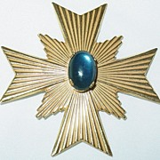 Miriam Haskell Maltese Cross Brooch/Pin with Blue Stone