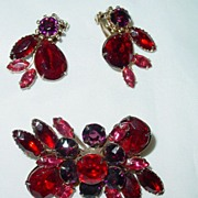 Vintage Red Rhinestone Brooch/Pin and Clip on Earring Set