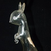 Hand Blown Glass Hare Figural Liquor Bottle by Bols
