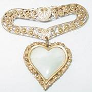 Highly Decorated Vintage Gold Heart Pin/Brooch w/Mother of Pearl