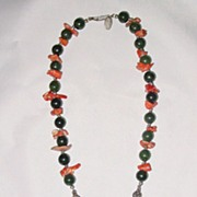 Miriam Haskell Jade and Coral Oriental Style Necklace