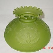 Vintage Green Glass Eagle/Military Lamp Shade/Globe