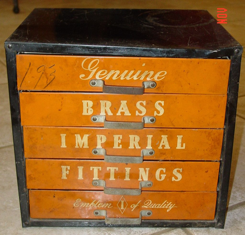 Genuine Brass Imperial Fittings Metal Store Cabinet and Tools