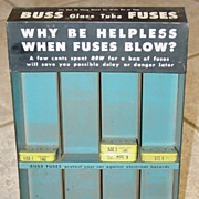 Buss Glass Tube Fuses Metal Store Display with fuses