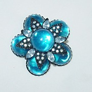Vintage Blue and Clear Rhinestone Pin/Brooch