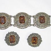 Vintage Amber and Goldtone Bracelet and clip on Earring Set