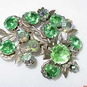 Green Rhinestone Floral Pin/Brooch