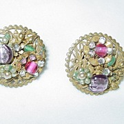 Unmarked Circular Vintage Clip-on Earrings with Pink/Green/Gold/Pearl Stones