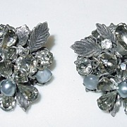 Vintage Robert De Mario Signed Grey Earrings