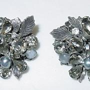 Vintage Robert De Mario Signed Grey Earrings