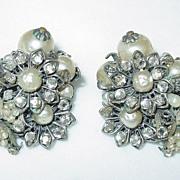 Vintage Robert De Mario Signed Faux Pearl Earrings