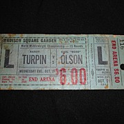October 21, 1953 Turpin/Olson Unused Fight Ticket Madison Square Garden