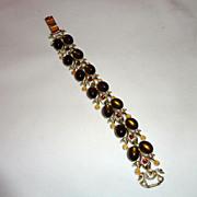 Vintage Coro Moonstone & Rhinestone Signed Bracelet