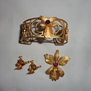 Vintage Prestige Floral Cuff Bracelet, Pendant/Pin/Brooch & Screw on Earrings