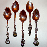 5 Johann S. Kurz & Co. German 800 Silver Demitasse Spoons all different