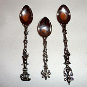 3 Fancy 800 Silver Demitasse Spoons Unknown Maker - Marked 800