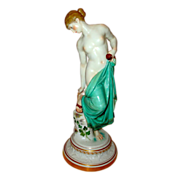 Late 19th Century Half Nude Meissen Woman with Slippers