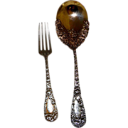 "Durgin Sterling Silver Chrysanthemum Preserve Spoon (112g) and 7"" Fork (64g)"
