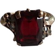 Vintage 10k gold 3 carat Ruby & Diamond Ring