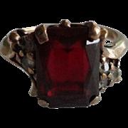 Vintage 10k gold 3 carat Ruby & Diamond Ring