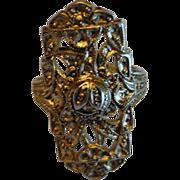 Vintage Sterling Silver Uncas Filigree Cocktail Ring