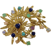 Stunning 18k Lapis Coral Jade Opal Turquoise Stylized Brooch Pin