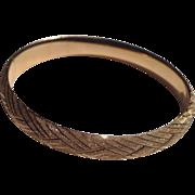 14K Gold Bangle Bracelet Marked HOB Beautifully Etched