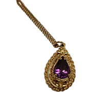 "14K Gold Amethyst Locket with 18K gold 26"" Chain"