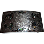Plata De Jalisco 925 Sterling Silver V.H.L.C Mother of Pearl Belt Buckle