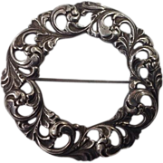 Vintage Bernard Hertz  830 Silver Round Pin/Brooch Denmark