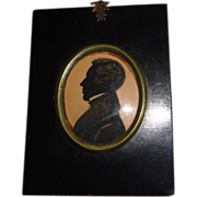 Victorian Silhouette of Gentleman in Ebony Colored Frame