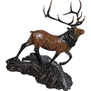 Dennis Jones Elk Bronze Sculpture by Franklin Mint